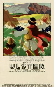 Irish Travel Poster, Finn McCool, Red hand of Ulster, Northern Ireland